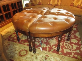 Leather Ottomans - 2 Pc